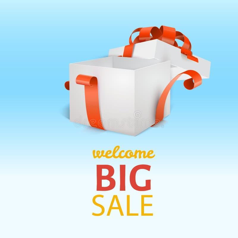 打开有红色丝带的白色礼物盒并且鞠躬 大销售额 向量例证