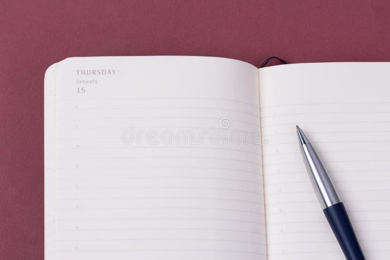 打开有豪华圆珠笔的每日计划者 免版税库存图片