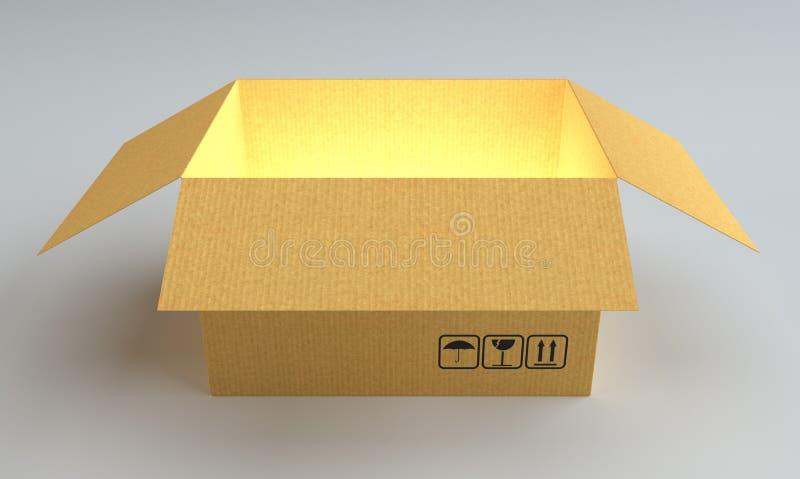 打开有里面焕发的纸板箱 向量例证