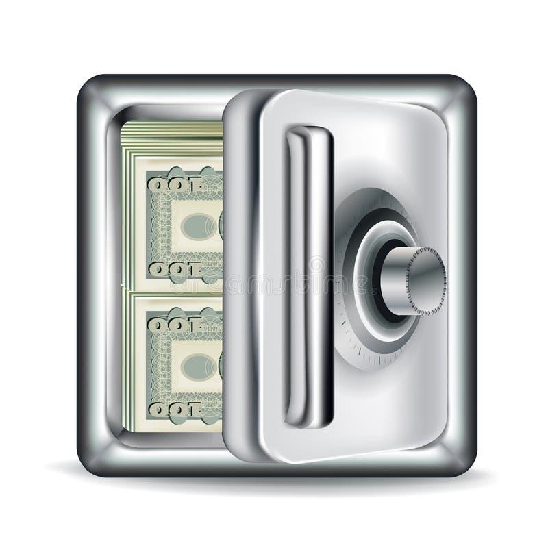 打开有金融法案的金属保险柜 库存例证