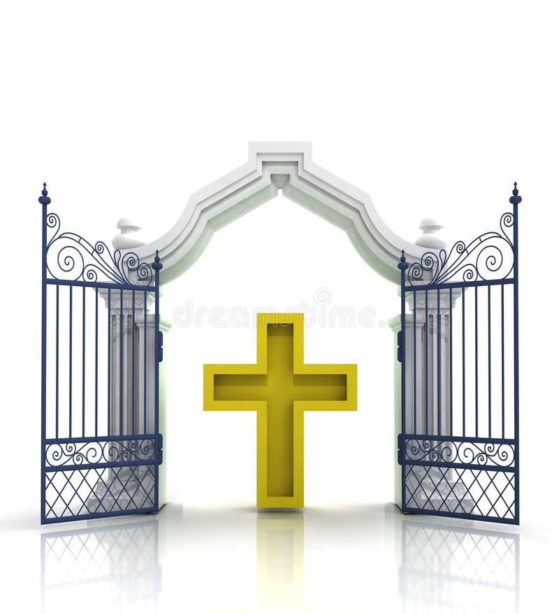 打开有金黄十字架的巴洛克式的门 向量例证