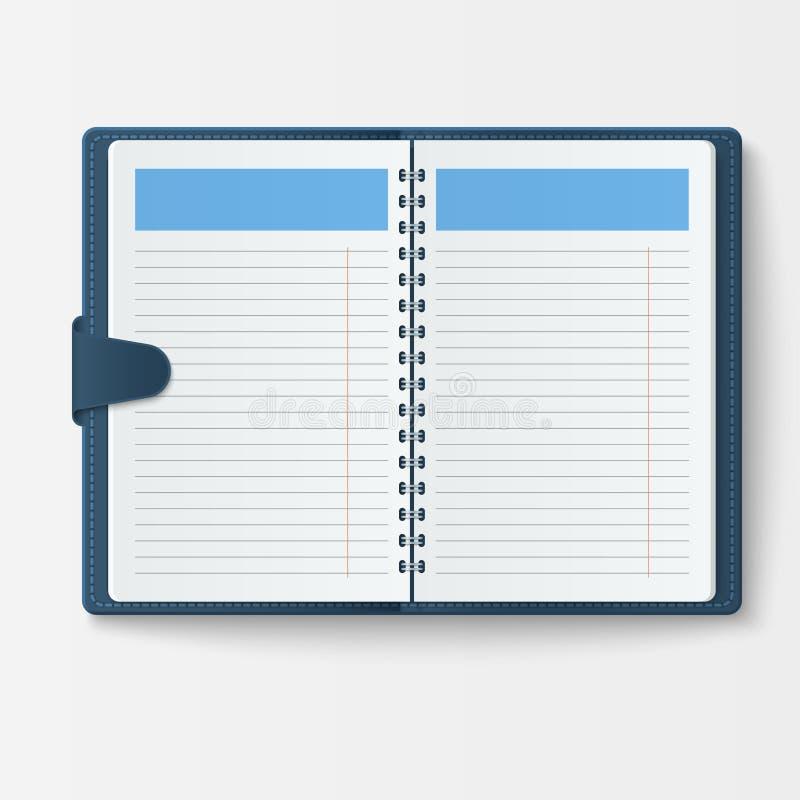 打开有页日志办公室板料模板小册子和白纸教育习字簿组织者的现实笔记本 皇族释放例证