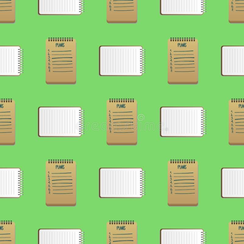 打开有页日志无缝的样式背景办公室板料小册子纸教育习字簿的现实笔记本 库存例证