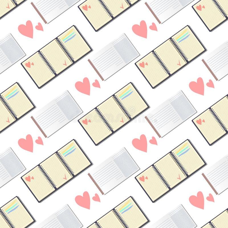 打开有页日志无缝的样式背景办公室板料小册子纸教育习字簿的现实笔记本 向量例证