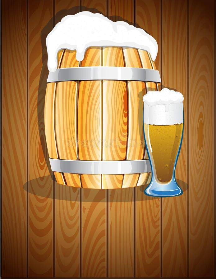打开木桶和一杯啤酒 向量例证