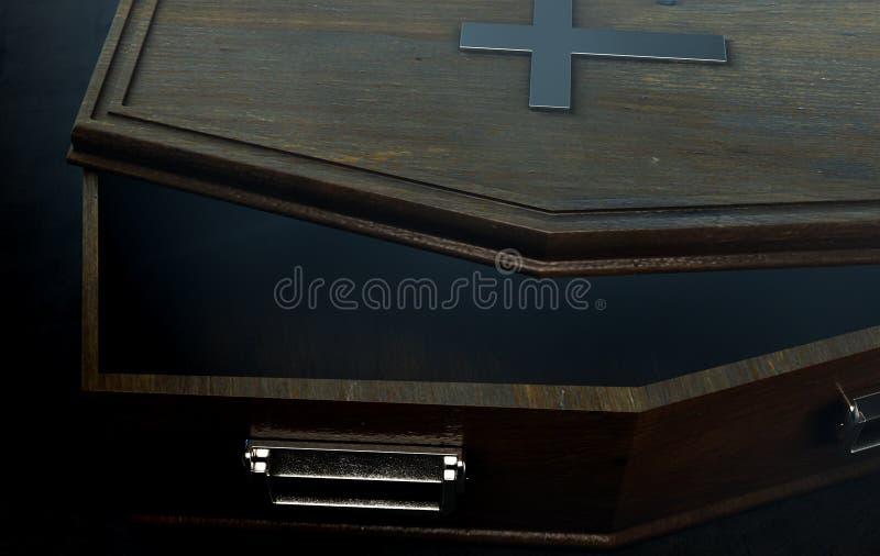 打开棺材和耶稣受难象 皇族释放例证