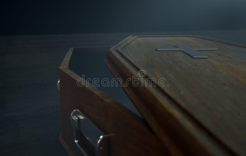 打开棺材和耶稣受难象 库存例证