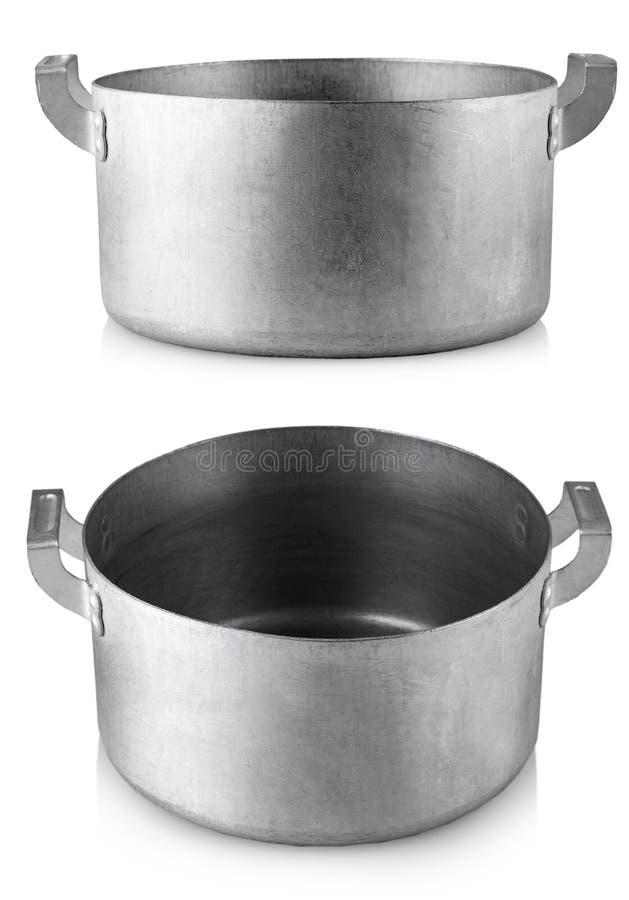 打开烹调在白色背景的不锈钢罐 免版税库存图片