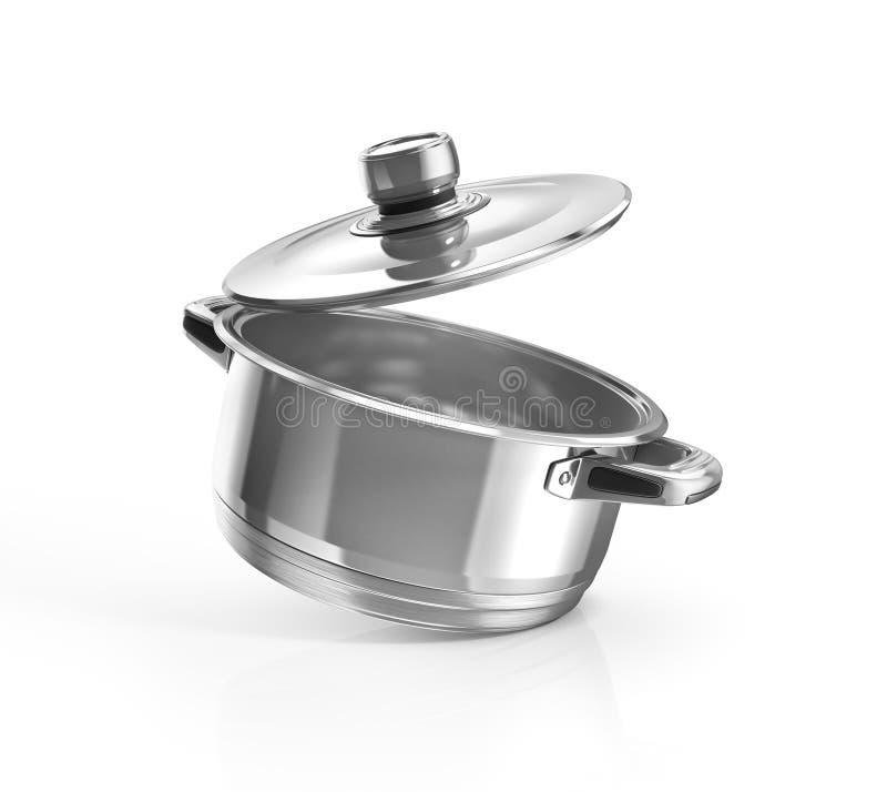 打开烹调罐的不锈钢 向量例证