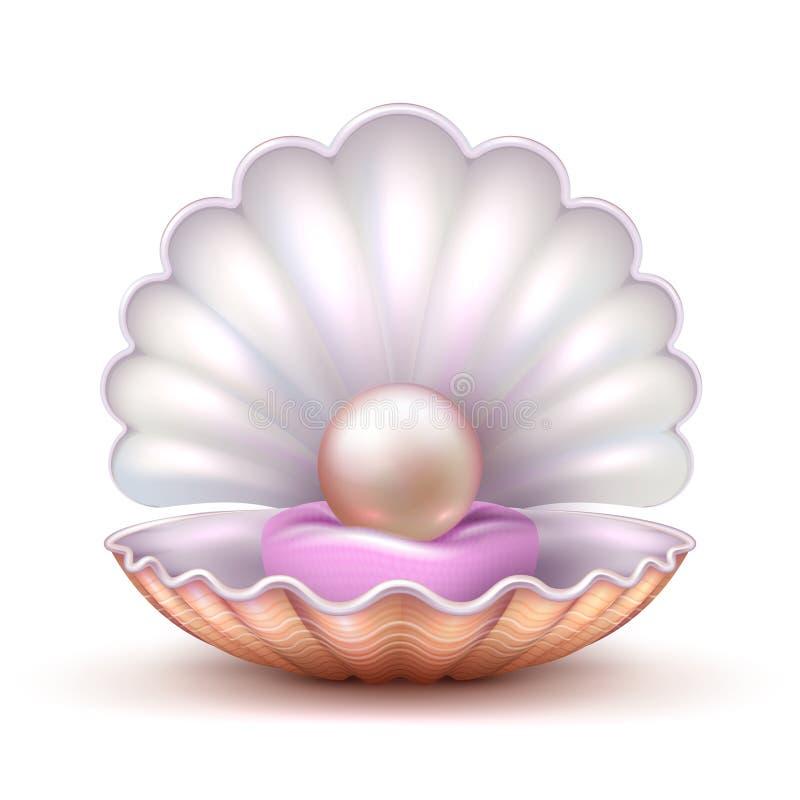 打开牡蛎与被隔绝的可贵的珍珠的海壳 现实3D传染媒介例证 向量例证