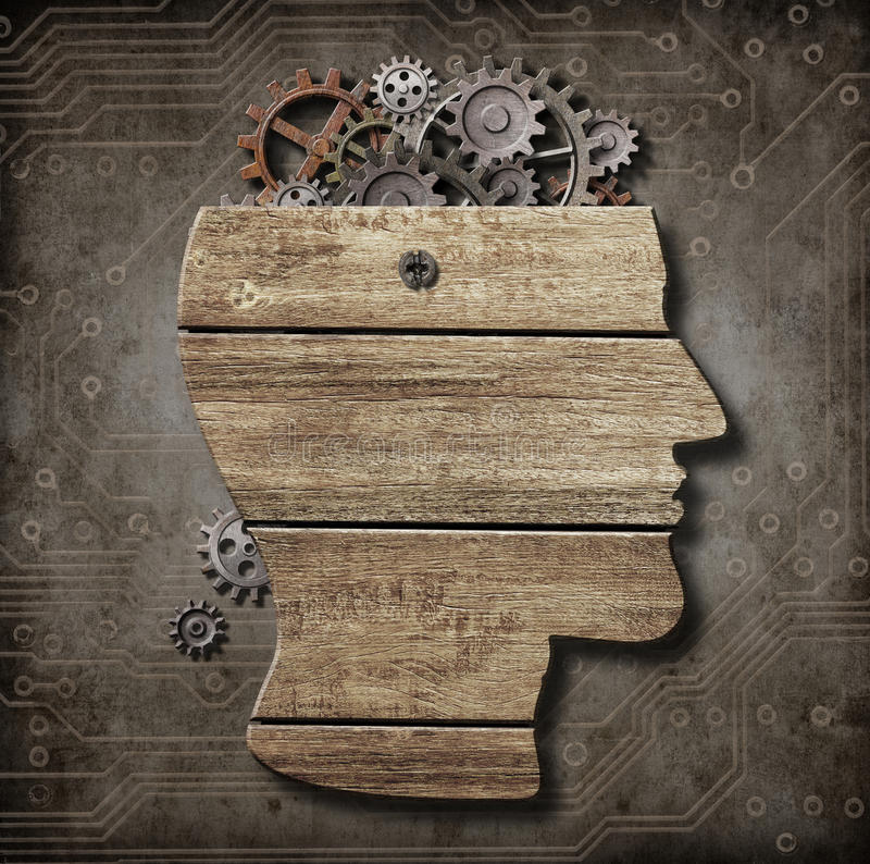 打开由木头做的脑子模型,生锈的金属齿轮 库存照片
