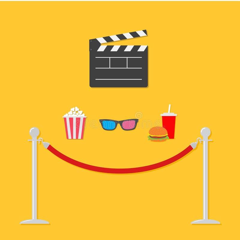 打开电影拍板3D玻璃玉米花苏打汉堡包模板象 红色绳索障碍柱子旋转门平的设计样式 库存例证