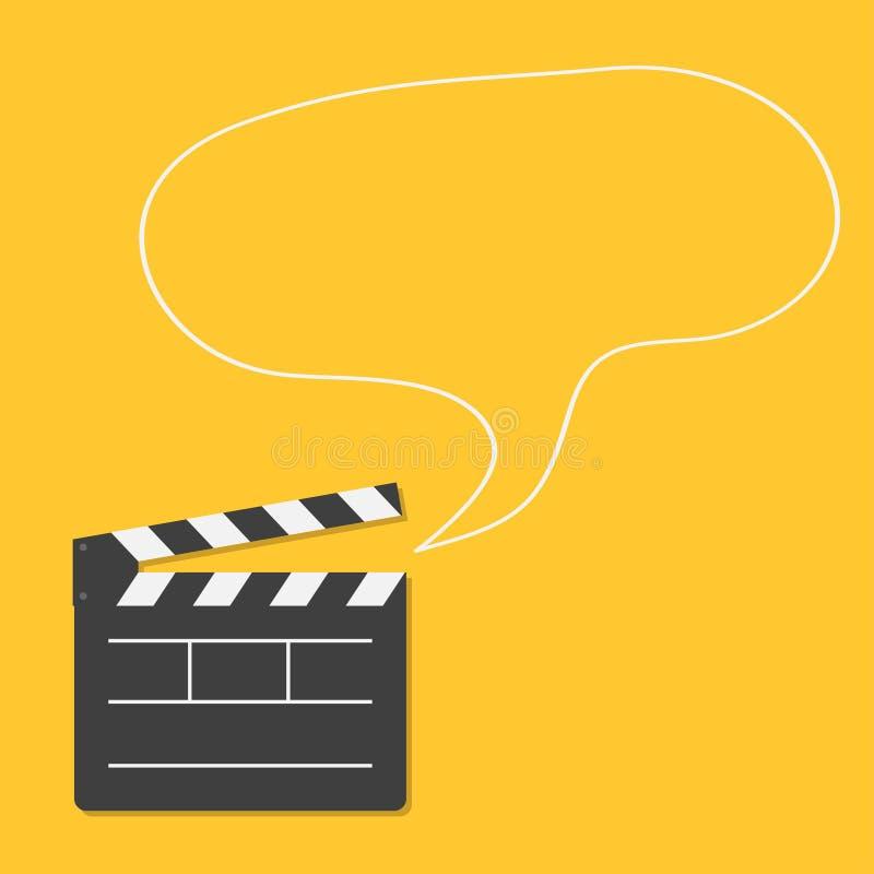 打开电影有讲话泡影模板象的拍板 平的设计样式 向量例证