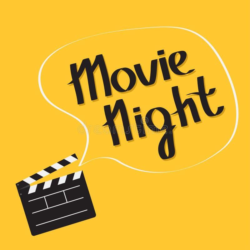 打开电影有讲话泡影电影之夜文本的拍板 字法 平的设计样式 库存例证