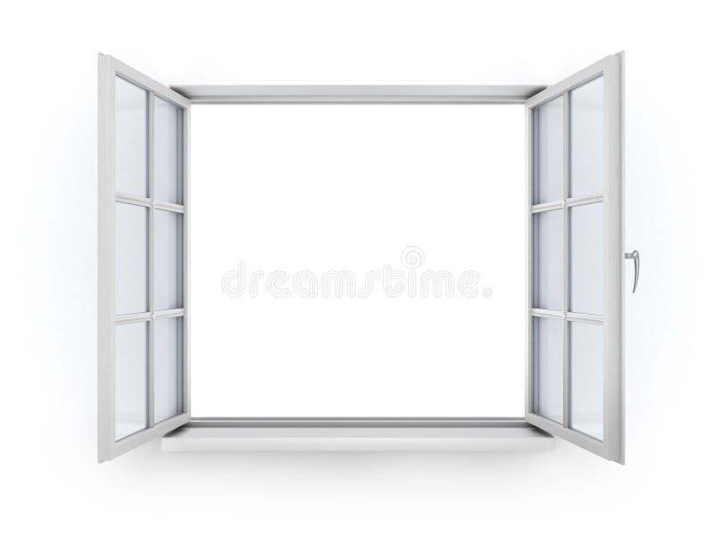 打开白色木窗口 向量例证