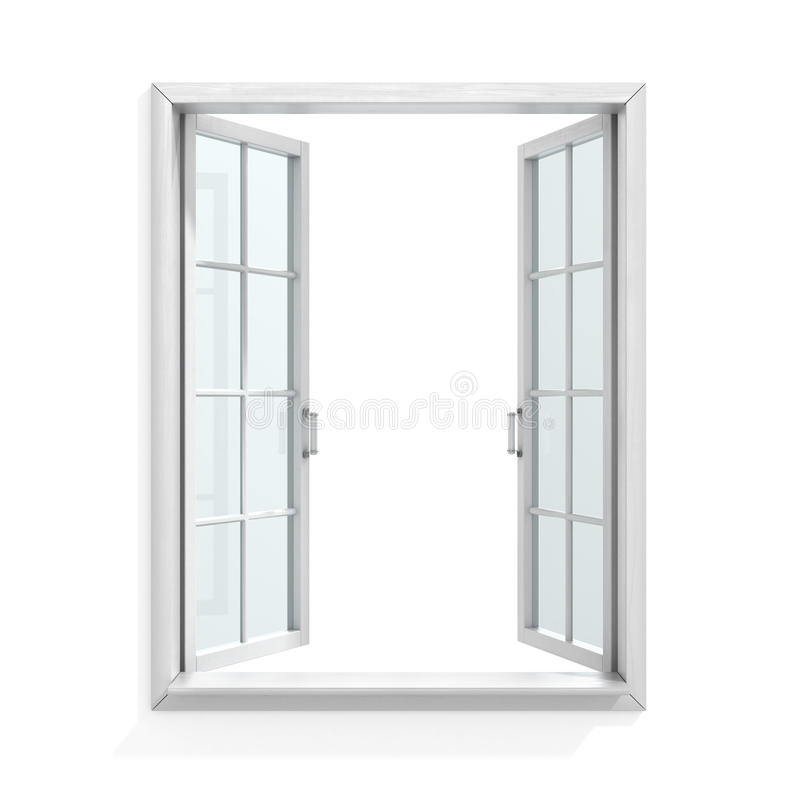 打开白色木窗口 皇族释放例证