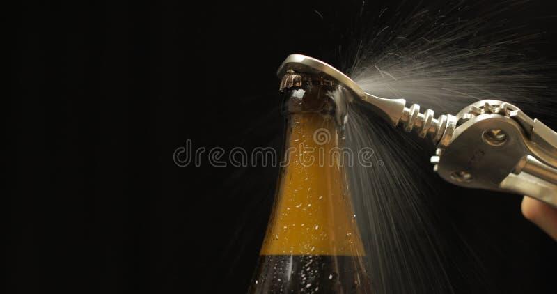 打开的冷的瓶与瓶盖启子的啤酒 凝析油和水下落 库存图片