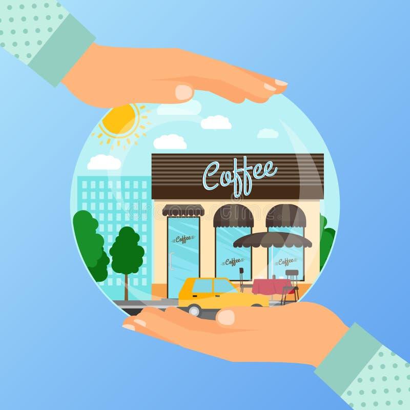 打开的咖啡咖啡馆的企业概念 库存例证
