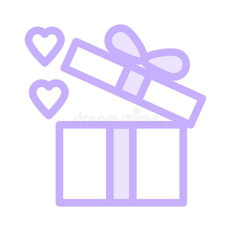 打开礼物盒象 库存例证
