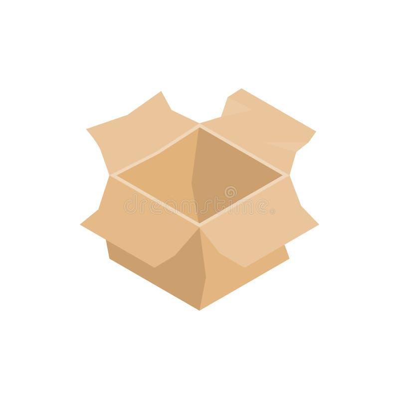打开空的纸板箱象,等量3d样式 库存例证