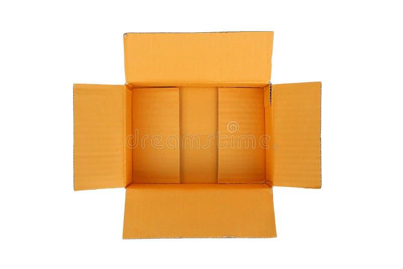 打开空的纸盒皱纸板箱子 免版税库存图片