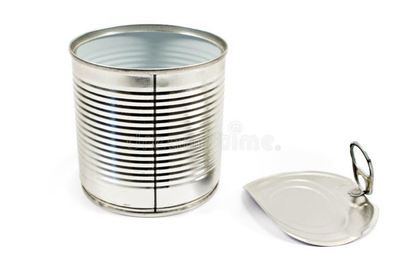 打开空的锡罐 库存图片