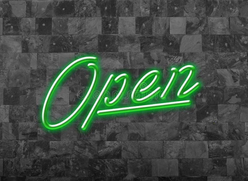 打开签署在黑暗的墙壁上的变暗的绿色霓虹字体 免版税库存照片