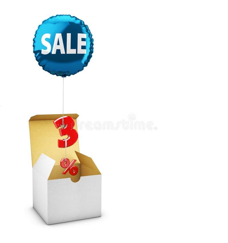 打开箱子和飞行气球有三百分号的,销售的概念的商店 3d例证 向量例证