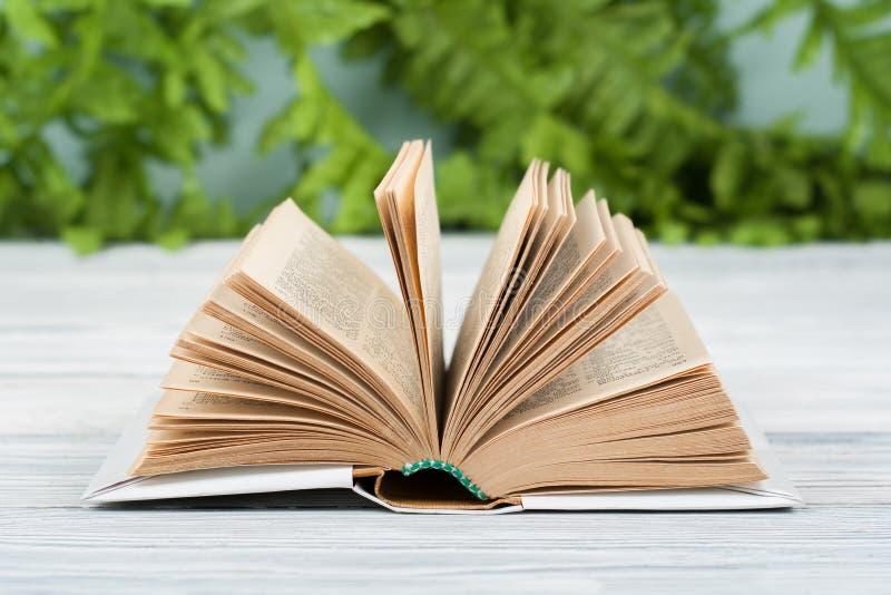 打开精装书书,在木桌上 自然本底 回到学校 复制文本的空间 图库摄影