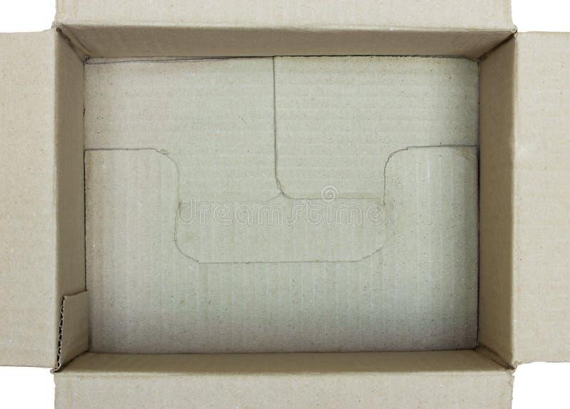 打开纸板箱顶视图 库存图片