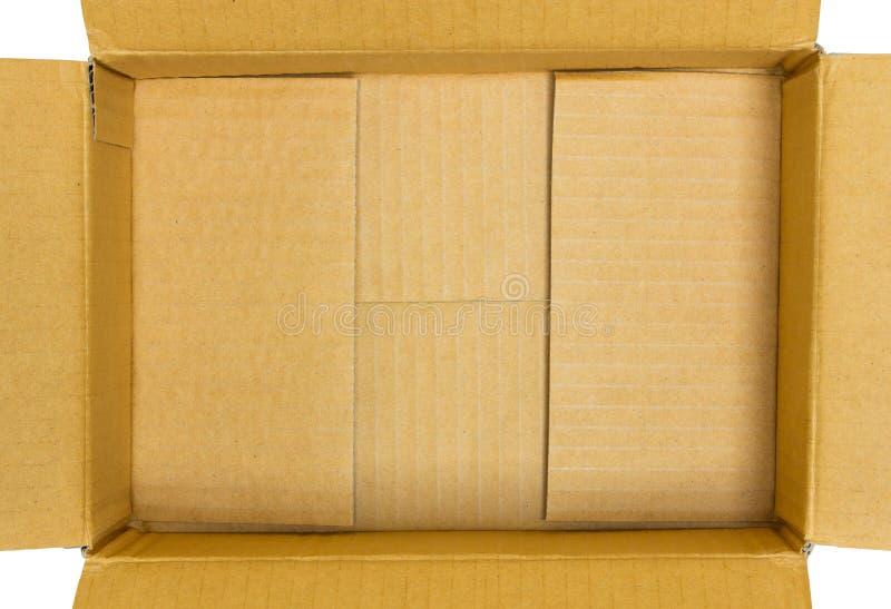打开纸板箱顶视图 库存照片