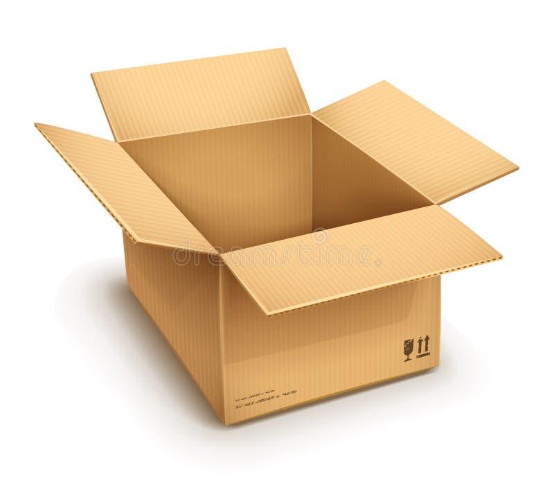 打开纸板箱 皇族释放例证