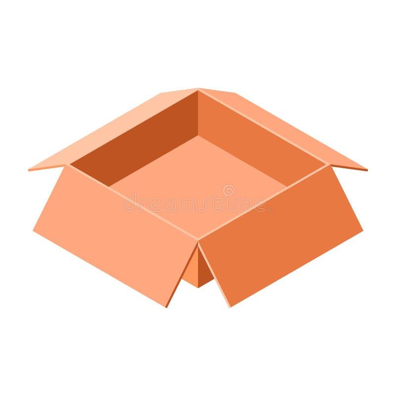 打开纸盒箱子象,等量样式 向量例证