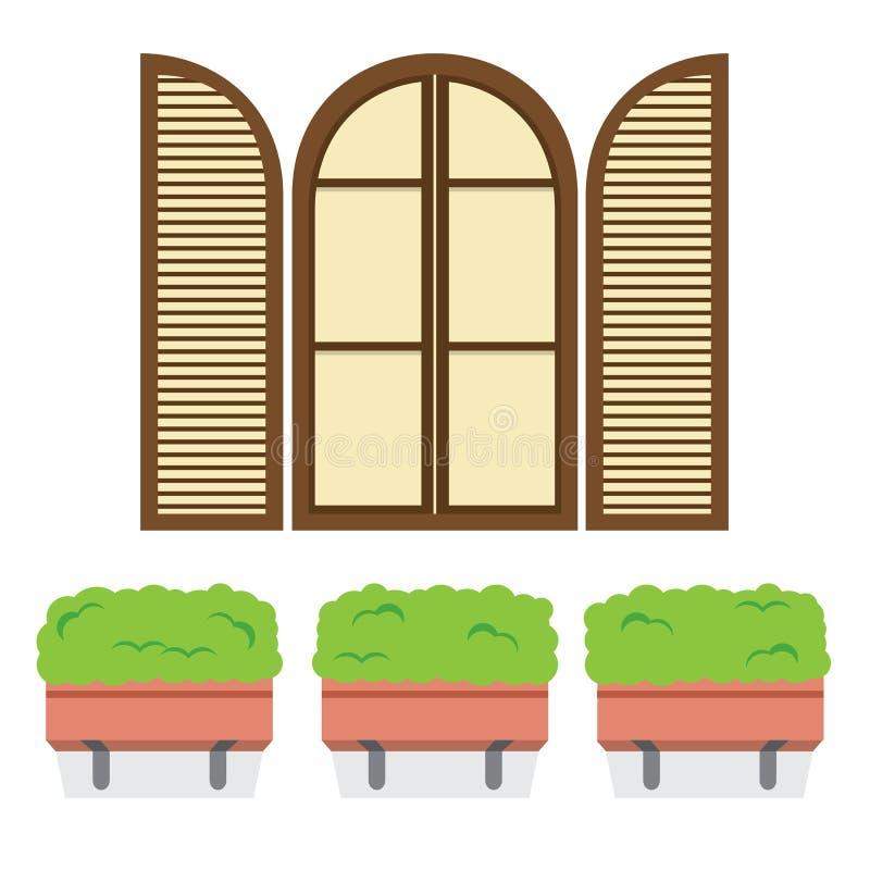 打开葡萄酒与下面盆栽植物的弧窗口 库存例证