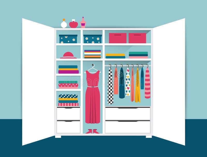 打开衣橱 与整洁的衣裳、衬衣、毛线衣、箱子和鞋子的白色壁橱 被设计的家庭内部居住的减速火箭的空间样式 皇族释放例证