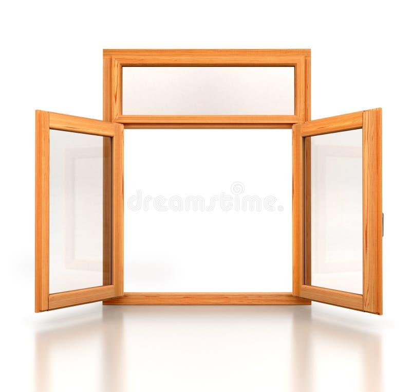 打开被打开的木双重窗口 库存图片