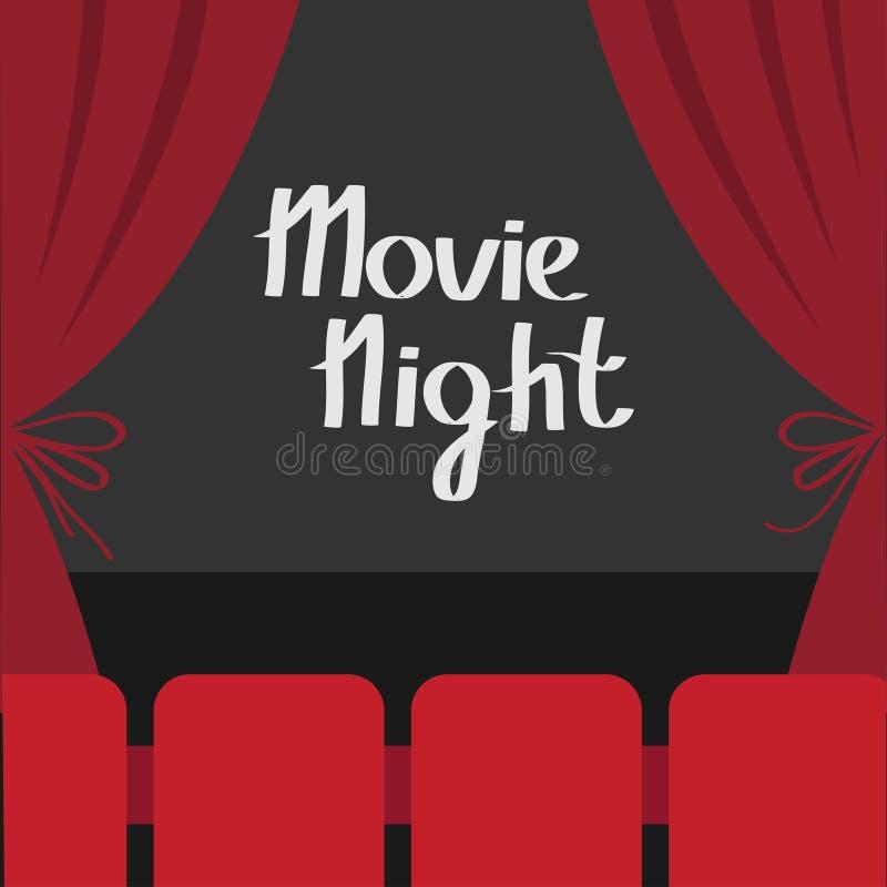 打开豪华红色丝绸阶段剧院帷幕 天鹅绒有弓的猩红色帷幕 供以座位大厅 黑暗的阶段 影片屏幕 电影之夜 Ci 皇族释放例证