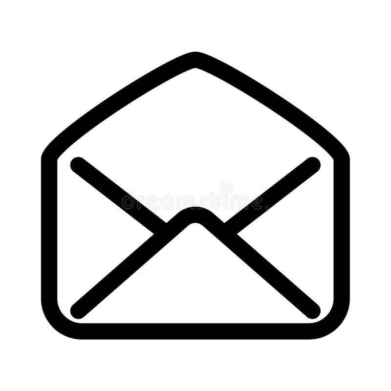 打开邮件信封象 读的电子邮件通信或邮局的标志 概述现代设计元素 简单的黑色 向量例证