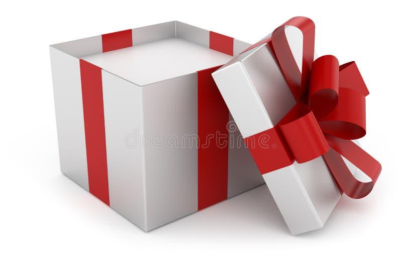 打开银色礼物盒盖帽  皇族释放例证