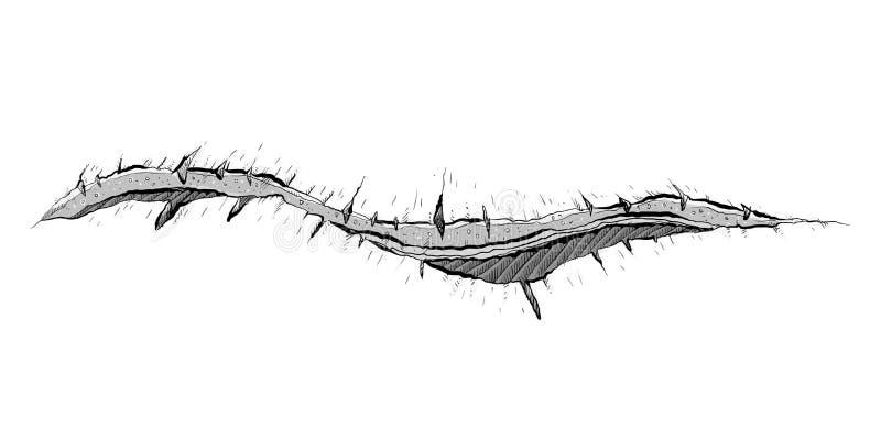打开难看的东西裂缝 向量例证