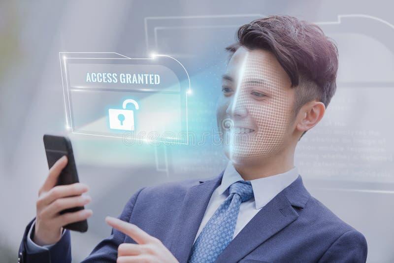打开面孔ID扫描 免版税库存图片