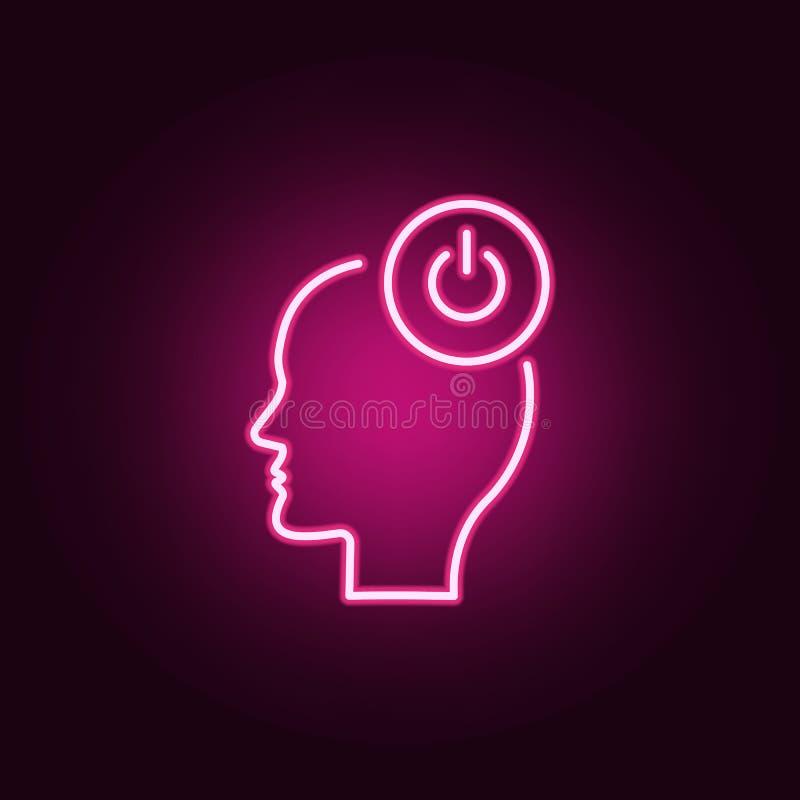 打开,头,力量霓虹象 创造性思为集合的元素 网站的简单的象,网络设计,流动应用程序,信息图表 库存例证
