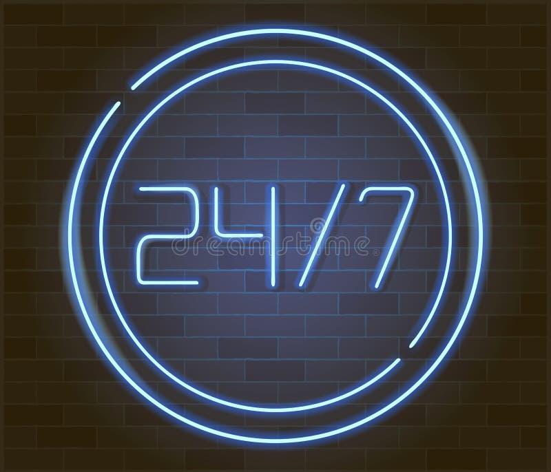 打开24 7个小时在砖墙上的霓虹灯 24个小时夜总会酒吧霓虹灯广告 向量例证