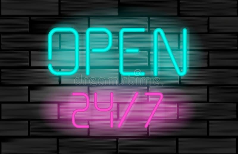 打开24 7 在砖墙背景的霓虹灯广告 皇族释放例证