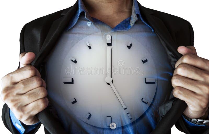 打开他的衣服,与里面时钟的商人,隔绝在白色背景 免版税库存图片