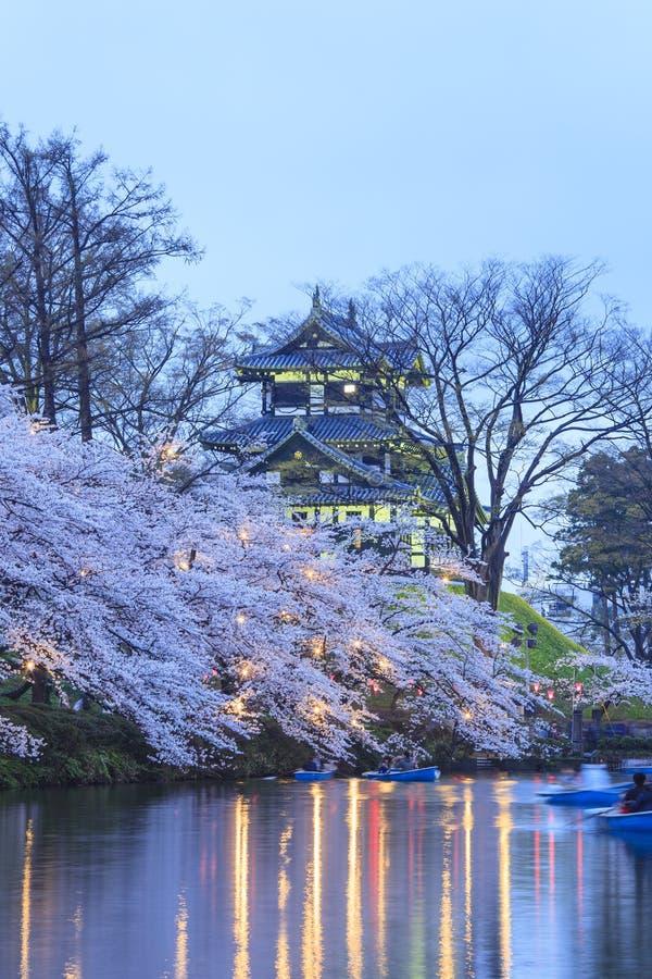 打开Takada城堡和樱花 库存照片