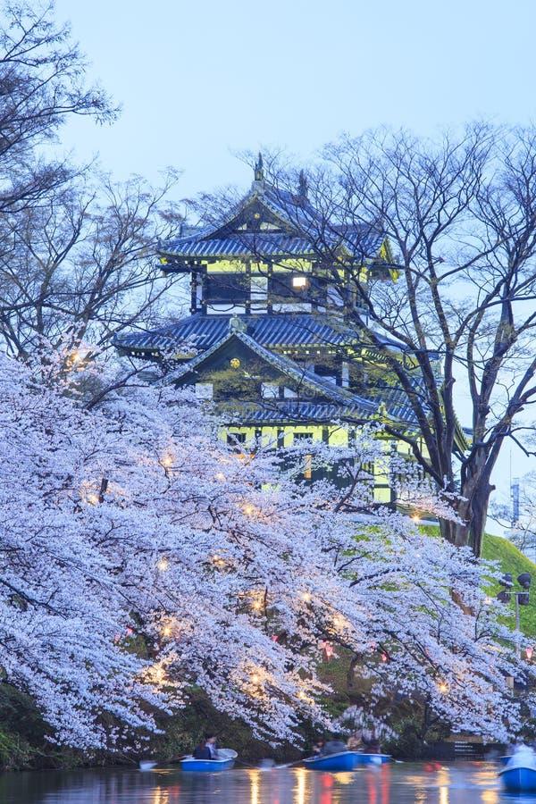 打开Takada城堡和樱花 免版税库存图片