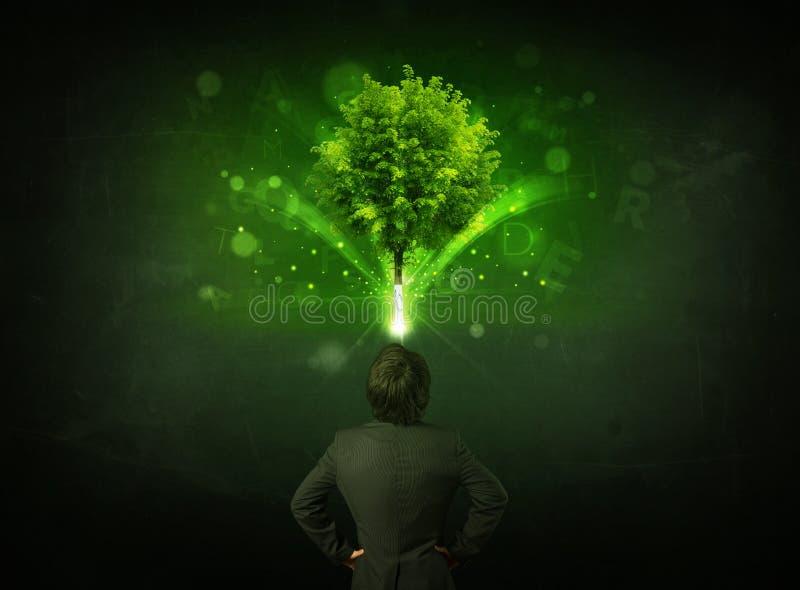 打手势在一棵发光的树前面的商人 库存图片
