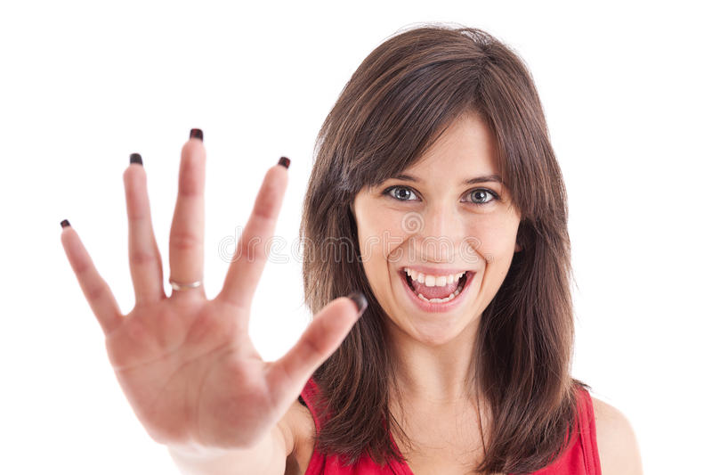打手势女孩符号终止 免版税库存图片