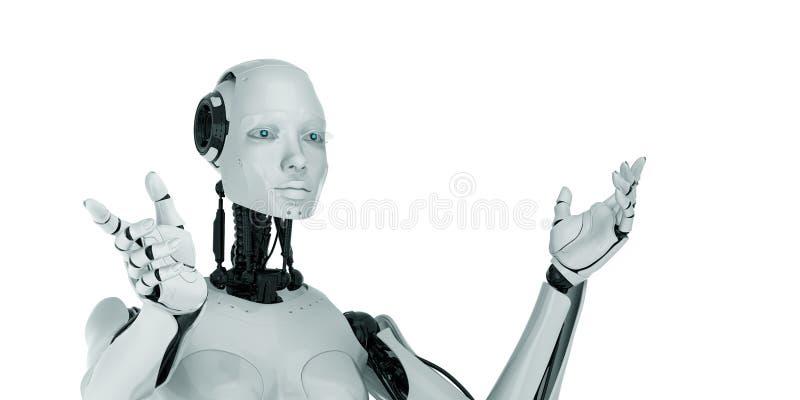 打手势妇女的cyber 免版税库存照片
